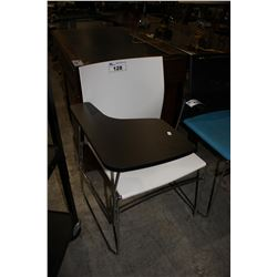 WHITE CHAIR WITH FLIP UP DESK ARM
