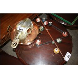 SKULL, DECORATIVE DISH AND BILLIARDS DECOR