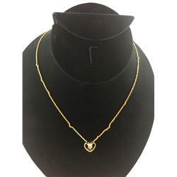 18 KT YELLOW GOLD NECKLACE WITH 14KT GOLD DIAMOND PENDANT