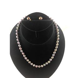 BLACK CULTURED PEARL NECKLACE WITH MATCHING EARRINGS