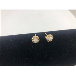 PAIR OF 14 KT YELLOW & WHITE GOLD DIAMOND EARRINGS