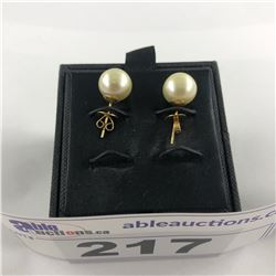 14 KT YELLOW GOLD CULTURED PEARL EARRINGS