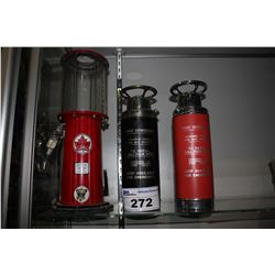 PAIR OF FIRE EXTINGUISHER STYLE LIQUOR DISPENSER  & MINI GAS PUMP