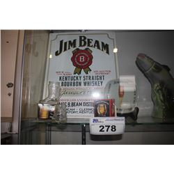 COLLECTION OF JIM BEAM COLLECTABLES - SHOT GLASSES, TIN SIGN AND MORE