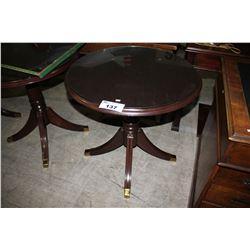 DARK WOOD GLASSTOP OCCASIONAL TABLE