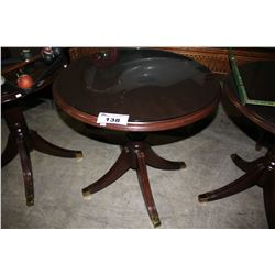 DARK WOOD GLASSTOP OCCASIONAL TABLE