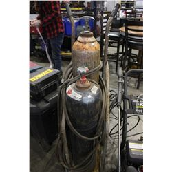 OXYGEN AND ACETYLENE TANKS ON TWO WHEEL DOLLY