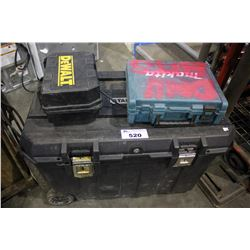 LARGE TOOLBOX ON WHEELS WITH CONTENTS, DEWALT SANDER AND MORE