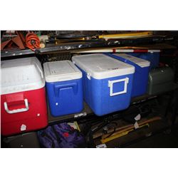 SHELF LOT INCLUDING FOUR COOLERS, STANLEY TOOL BOX, JERRY CAN AND MORE