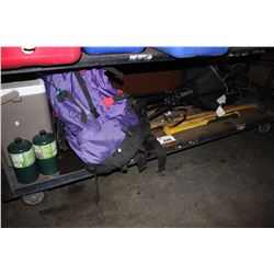 SHELF LOT OF ASSORTED CAMPING GEAR INCLUDING FOLDING CHAIR, COOLER, PROPANE AND MORE