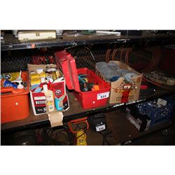 SHELF LOT INCLUDING ASSORTED CLEANING PRODUCTS, BOX OF NAIL COILS, TOOLS AND MORE