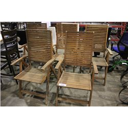 FIVE RECLINING WOOD PATIO CHAIRS