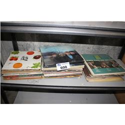 SHELF LOT OF VINYL RECORDS