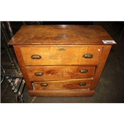 THREE DRAWER WOOD DRESSER - DAMAGED