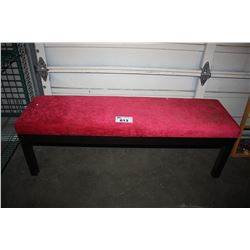 APPROX. 4 1/2 FT RED PADDED BENCH