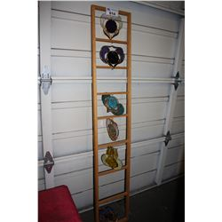 8 RUNG DECORATIVE LADDER WITH HANGING STAINED GLASS ORNAMENTS