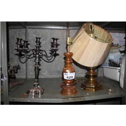 SHELF INCLUDING CANDELABRA  AND TWO LAMPS