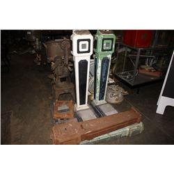 TWO ANTIQUE PERSONAL WEIGHT SCALES AND SCALE PARTS