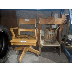 ROLLING WOODEN OFFICE CHAIR AND MORE
