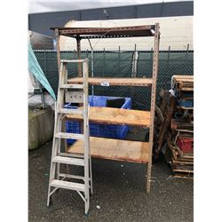METAL SHELF & 6 FT ALUMINUM STEP LADDER