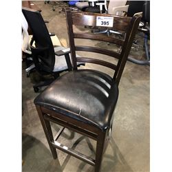 DARK WOOD FRAMED PADDED BAR STOOL