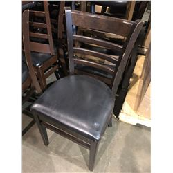 DARK WOOD FRAMED PADDED RESTAURANT CHAIR