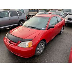 2002 HONDA CIVIC, 2DR SEDAN, RED, VIN # 1HGEM22532L813155