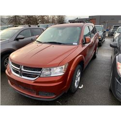 2014 DODGE JOURNEY, 4DRSW, ORANGE, VIN # 3C4PDCABXET258301
