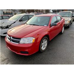 2011 DODGE AVENGER 4DR SEDAN, RED, VIN # 1B3BD4FB7BN509507