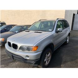 2003 BMW X5 3.0I, 4DR SUV, GREY, VIN # 5UXFA53563LW25547