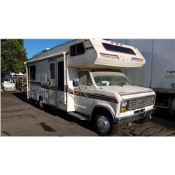 1987 FORD MOTORHOME, MODEL #MM23056, WHITE, GAS, AUTOMATIC, VIN#1FDKE30L8HHA81585, 99,829KMS,