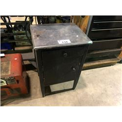 BLACK SINGLE DRAWER, SINGLE DOOR WORK STAND WITH CONTENTS