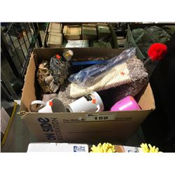 BOX OF ASSORTED HOUSEHOLD ITEMS & SCRATCH POST