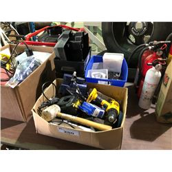 ASSORTED TOOLS, HARDWARE & BATTERY BOXES