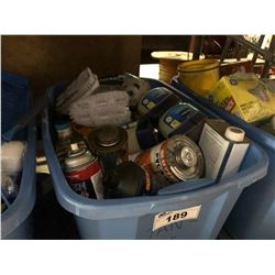 BLUE BIN OF ASSORTED FLUIDS & CLEANING PRODUCT