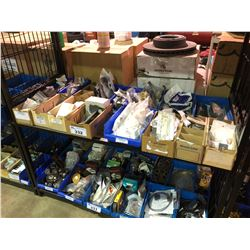 SHELF OF ASSORTED HARDWARE, PARTS BINS & TRUCK PARTS