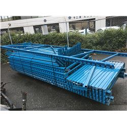 PALLET OF ASSORTED BLUE INDUSTRIAL PALLET RACKING UPRIGHTS AND CROSSBARS