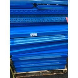 PALLET OF ASSORTED BLUE INDUSTRIAL PARTS RACKING UPRIGHTS AND CROSSBARS