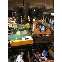 2 CAMO BOOTS, BACKPACK, SEAT COVER AND MISC.