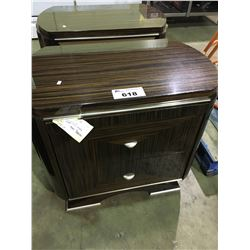 PAIR OF DARK WOOD 2 DRAWER NIGHTSTANDS