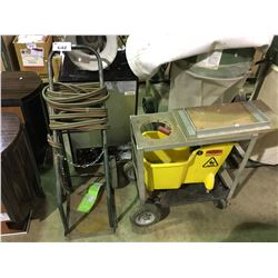 2 MOBILE BOTTLE CARTS WITH HOSE AND MOP BUCKET