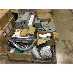 PALLET OF ASSORTED ELECTRICAL WIRE, BALLASTS, BREAKER BOXES AND SHUTOFF SWITCHES