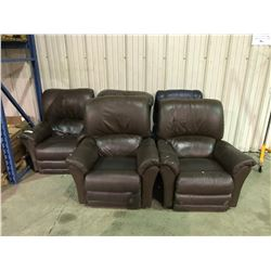 5 LEATHER RECLINING  CHAIRS