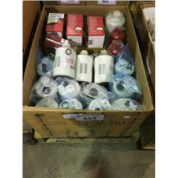 BOX OF ASSORTED HEAVY TRUCK FILTERS