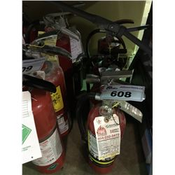 4 VARIOUS SIZE FIRE EXTINGUISHERS