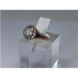 STERLING SILVER MORGANITE RING (SIZE 7)