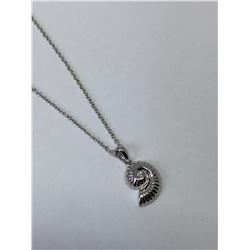 "STERLING SILVER SEASHELL DIAMOND ""FIRST"" NECKLACE (18.5CM)."