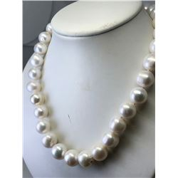 STERLING SILVER NATURAL FRESH WATER PEARL NECKLACE (12X13MM) (94.11GRMS).