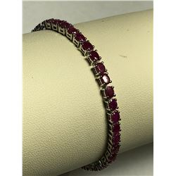 STERLING SILVER ENHANCED RUBIES(7CT) BRACELET(9.7G)