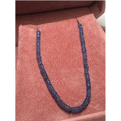 14KT YELLOW GOLD ENHANCED SAPPHIRE(25CT) BEADS NECKLACE(5.7G), 16 ""